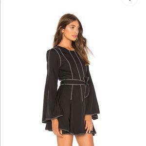 Tularosa Nicole Dress Blk contrasted stitch